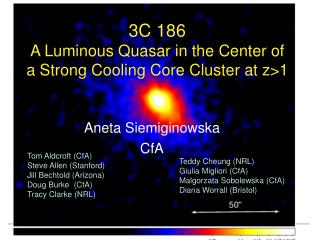 3C 186  A Luminous Quasar in the Center of a Strong Cooling Core Cluster at z>1