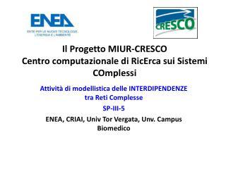 Il Progetto MIUR-CRESCO Centro computazionale di RicErca sui Sistemi COmplessi