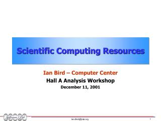 Scientific Computing Resources