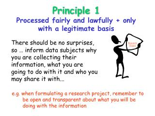 Principle 1 Processed fairly and lawfully + only with a legitimate basis