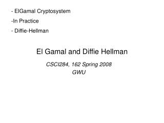 El Gamal and Diffie Hellman