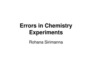 Errors in Chemistry Experiments