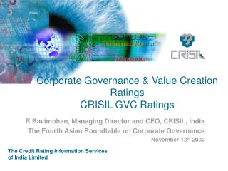 Corporate Governance & Value Creation Ratings CRISIL GVC Ratings