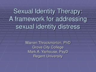 Sexual Identity Therapy: A framework for addressing sexual identity distress