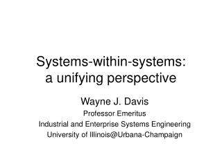Systems-within-systems: a unifying perspective