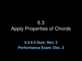 6.3 Apply Properties of Chords