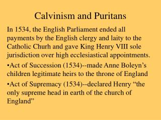 Calvinism and Puritans