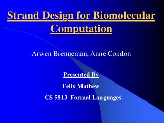 Strand Design for Biomolecular Computation
