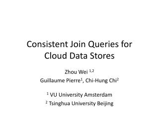 Consistent Join Queries for  Cloud Data Stores