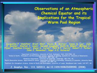 Observations of an Atmospheric Chemical Equator and its Implications for the Tropical Warm Pool Region