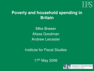 Poverty and household spending in Britain