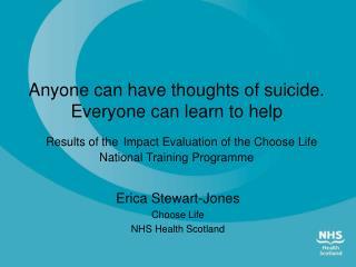 Erica Stewart-Jones Choose Life NHS Health Scotland
