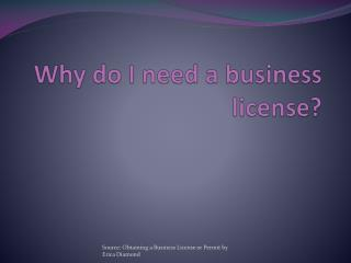 Why do I need a business license?