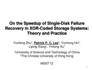 On the Speedup of Single-Disk Failure Recovery in XOR-Coded Storage Systems: Theory and Practice