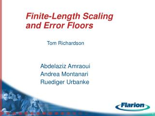 Finite-Length Scaling and Error Floors