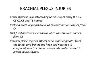 BRACHIAL PLEXUS INJURIES