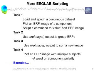 More EEGLAB Scripting