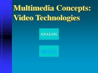 Multimedia Concepts: Video Technologies