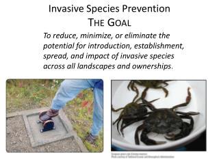 Invasive Species  Prevention The Goal