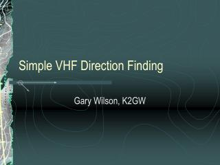 Simple VHF Direction Finding