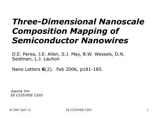 Three-Dimensional Nanoscale Composition Mapping of Semiconductor Nanowires