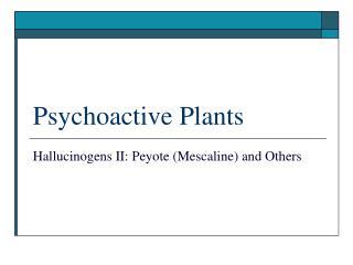 Psychoactive Plants