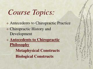 Course Topics:
