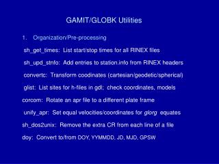 GAMIT/GLOBK Utilities