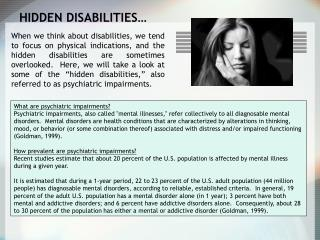 HIDDEN DISABILITIES…