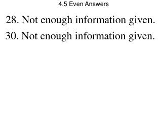 4.5 Even Answers