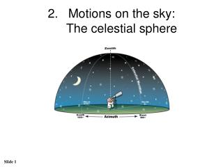 Motions on the sky:  The celestial sphere