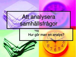 Att analysera samh