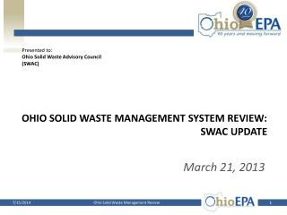 Ohio Solid waste management system review: SWAC Update