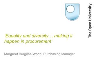 'Equality and diversity… making it happen in procurement'