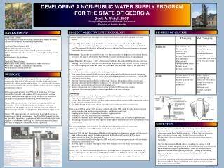 DEVELOPING A NON-PUBLIC WATER SUPPLY PROGRAM  FOR THE STATE OF GEORGIA Scott A. Uhlich, MCP Georgia Department of Human