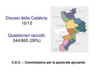 Diocesi della Calabria:  10/12 Questionari raccolti:  344/865 (28%)