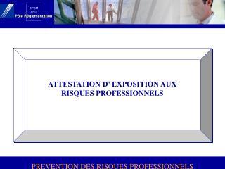 ATTESTATION D  EXPOSITION AUX RISQUES PROFESSIONNELS