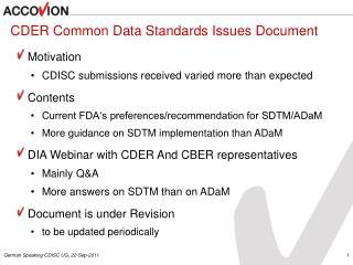 CDER Common Data Standards Issues Document