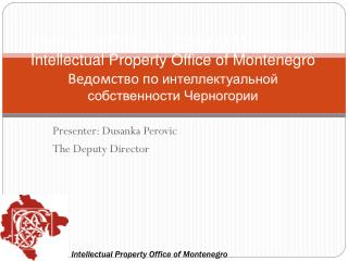 Presenter:  Dusanka Perovic                    The  Deputy Director