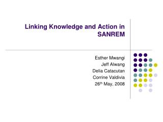 Linking Knowledge and Action in SANREM