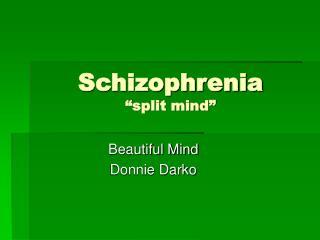 "Schizophrenia ""split mind"""