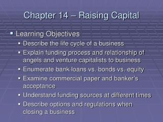 Chapter 14 – Raising Capital