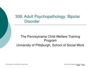 308: Adult Psychopathology: Bipolar Disorder