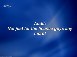 Audit:  Not just for the finance guys any more!