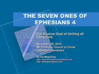 THE SEVEN ONES OF EPHESIANS 4