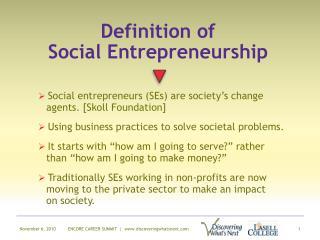 Definition of  Social Entrepreneurship