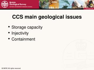 CCS main geological issues