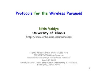 Protocols  for the  Wireless Paranoid
