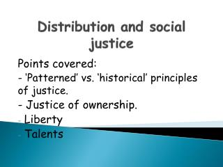 Distribution and social justice