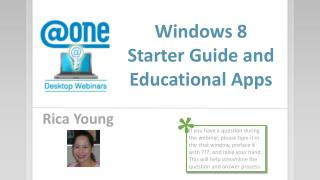 Windows 8 Starter Guide and Educational Apps